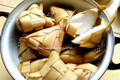 ketupat (riced wrapped in young coconut leaves)